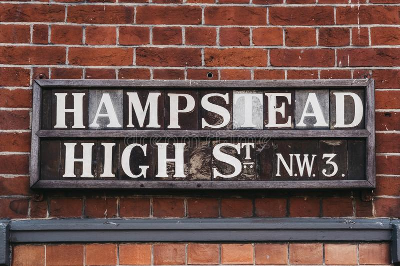 Street name sign on Hampstead High Street, Hampstead, London, UK royalty free stock photo