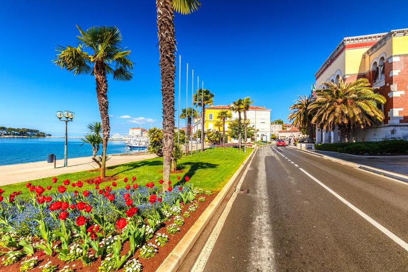 Street near the harbor in the city of Porec town on Adriatic sea. Street near the harbor in the city of Porec town on Adriatic sea in Croatia, Europe royalty free stock photo