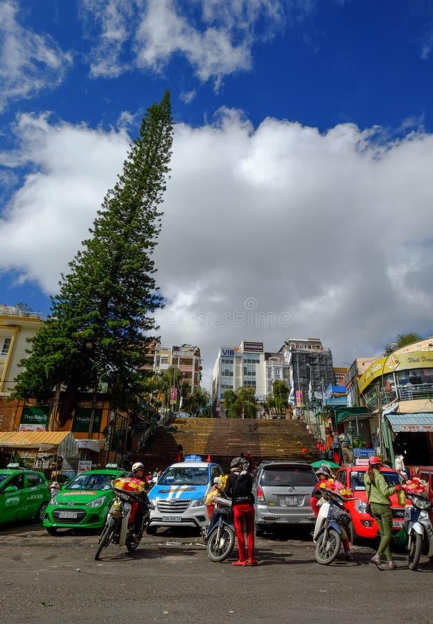 Street near main market in Dalat, Vietnam stock photo