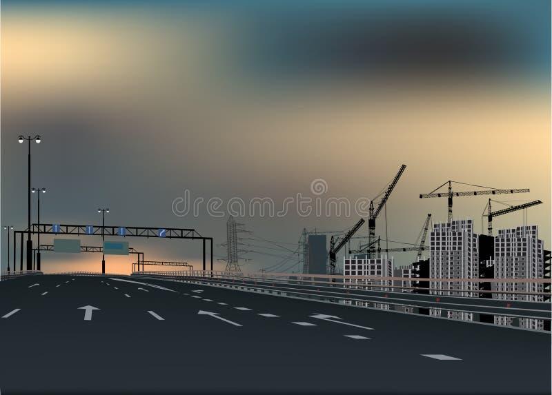 Download Street Near Modern Grey Buildings Stock Vector - Image: 24515328