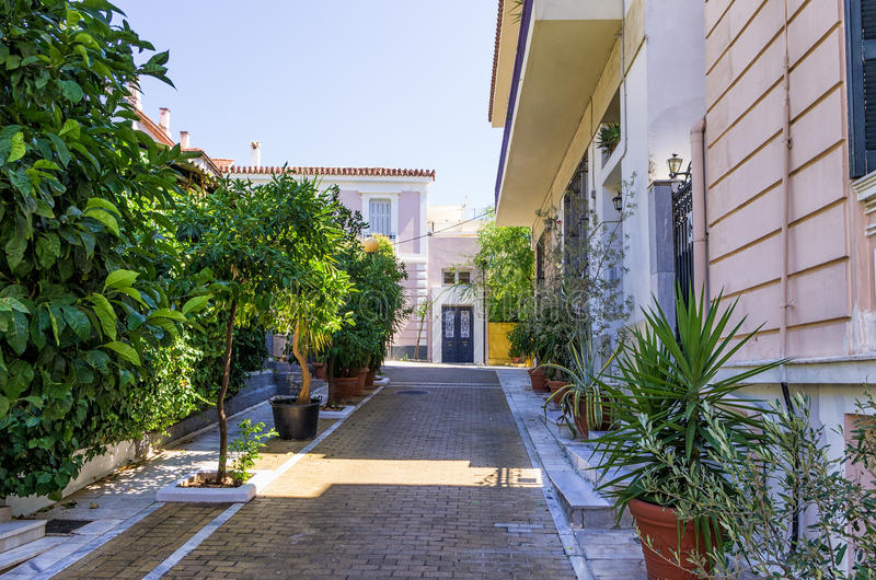 Street with neoclassical buildings in Mets neighborhood, Athens, Greece stock image