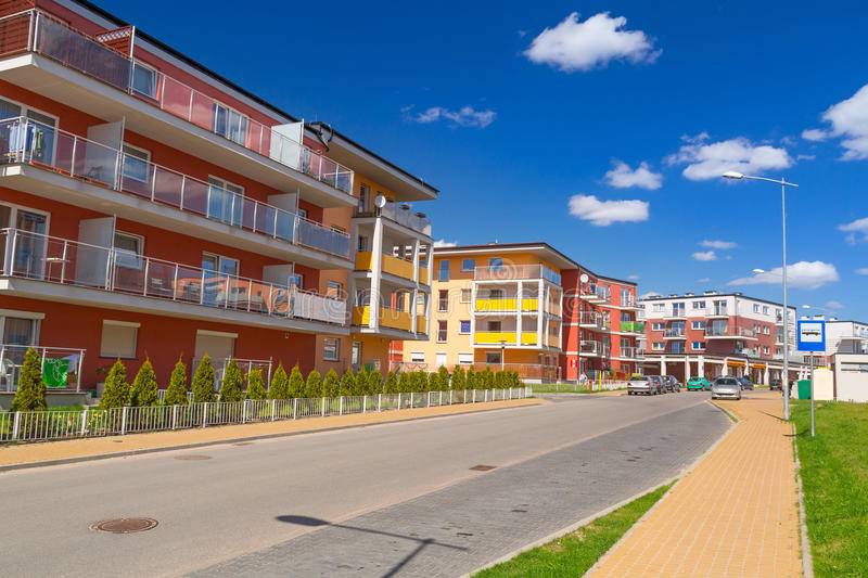 Street With New Apartments Royalty Free Stock Image