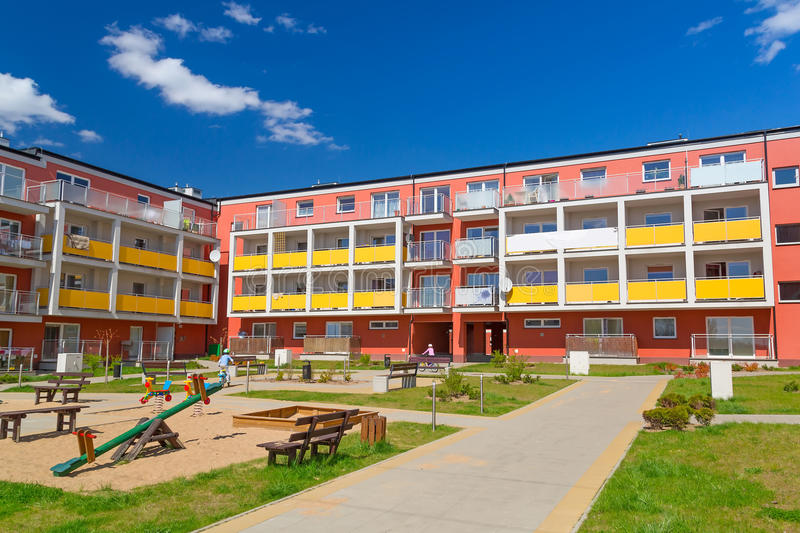 Download Street with new apartments stock photo. Image of investment - 30895478