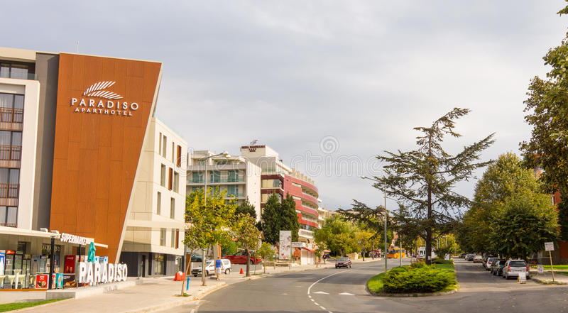 The street in new Bulgarian Nessebar stock image