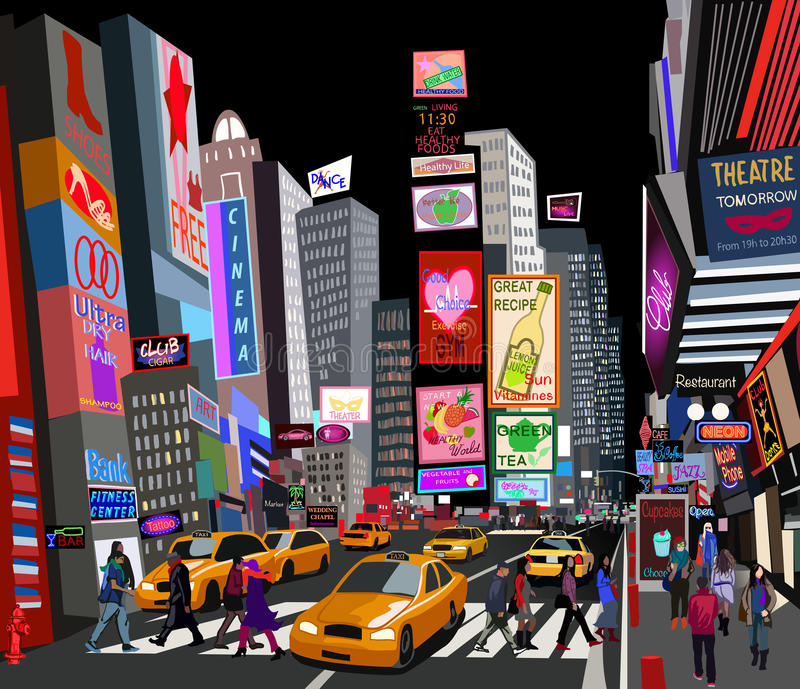 Street in New York city. Illustration of a street in New York city vector illustration