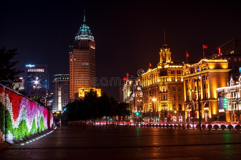 Street next to the waterfront of Waitang and the buildings of Shanghai in China stock photo