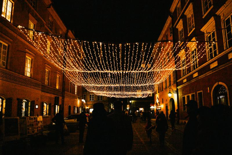 Street night decorations on the streets at Christmas in Warsaw. royalty free stock photos