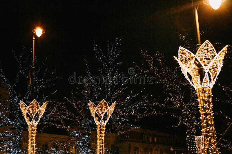 Street night decorations on the streets at Christmas in Warsaw. stock photography
