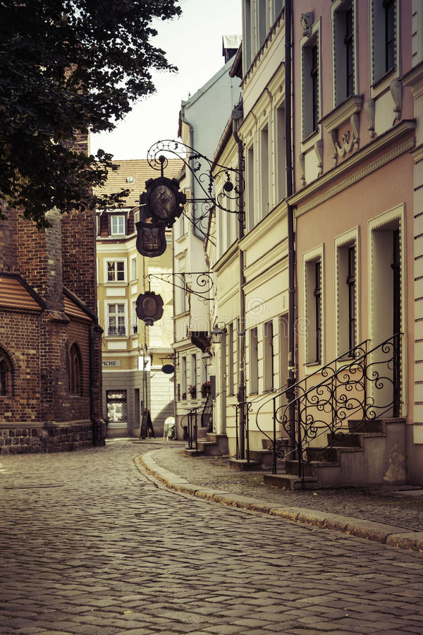 Street scene in old Berlin. A street in the Nikolai viertel, the oldest part of Berlin Germany royalty free stock image