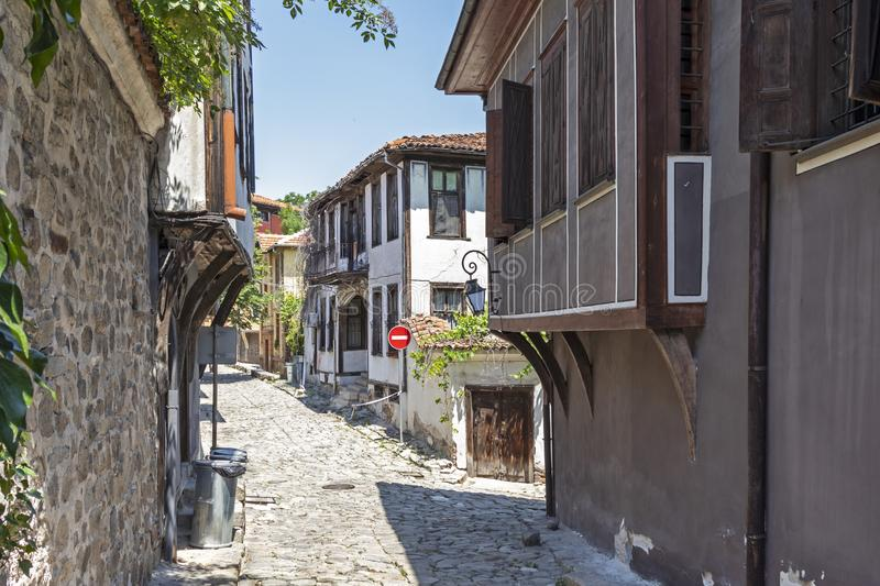 Street and Nineteenth Century Houses in architectural and historical reserve The old town in cit stock photo
