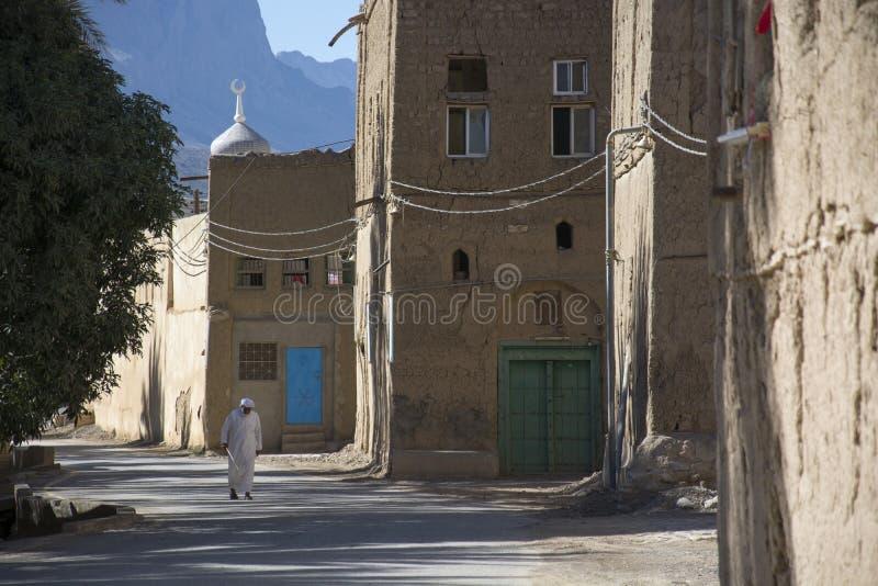 Street in oasis Al Hamra Oman stock photography