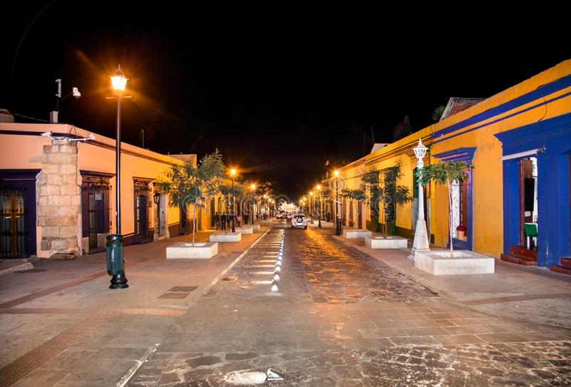 Street of Oaxaca by night, Mexico. royalty free stock images