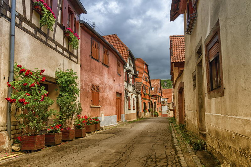 Street in Obernai city, France stock images