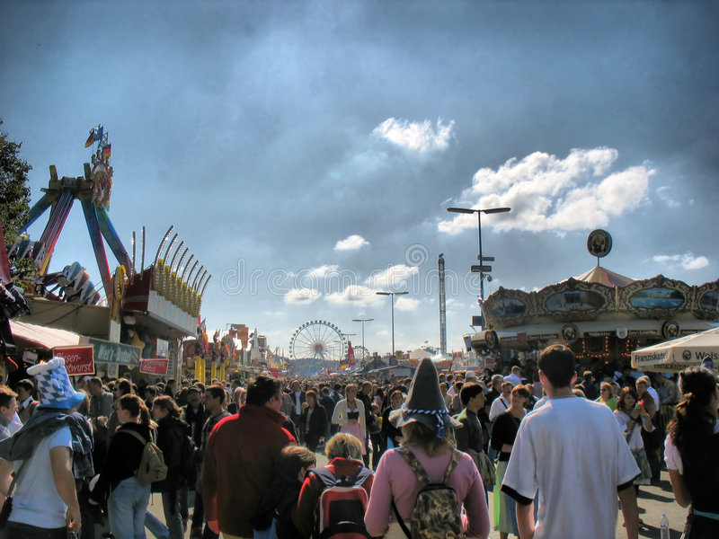 Street at Oktoberfest Festival (HDR) royalty free stock photo