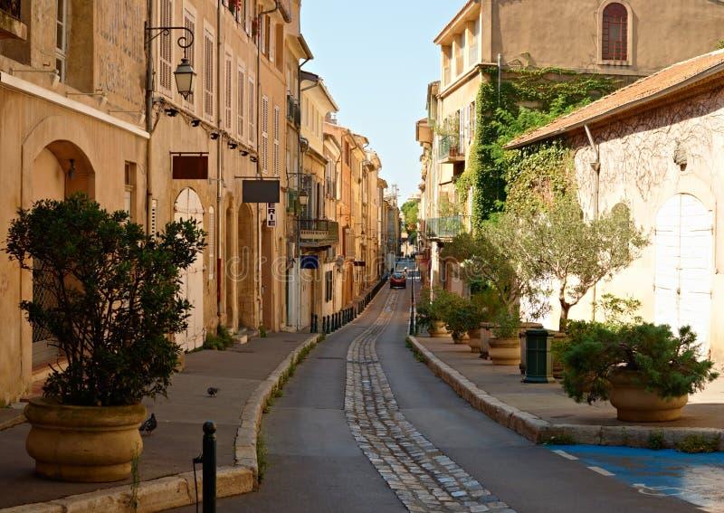 Street in old Aix en Provence stock photos