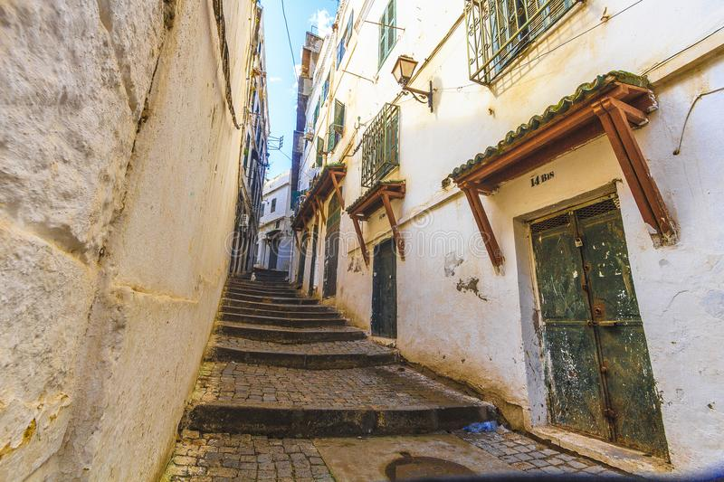 Old Algiers. A street in the old Algiers, the capital of Algeria stock images