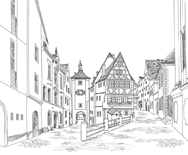 Street with old buildings and cafe in old city. Old city view. vector illustration