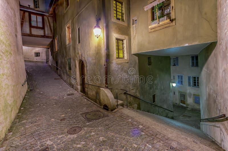 Street in old city, Geneva, Switzerland stock photos