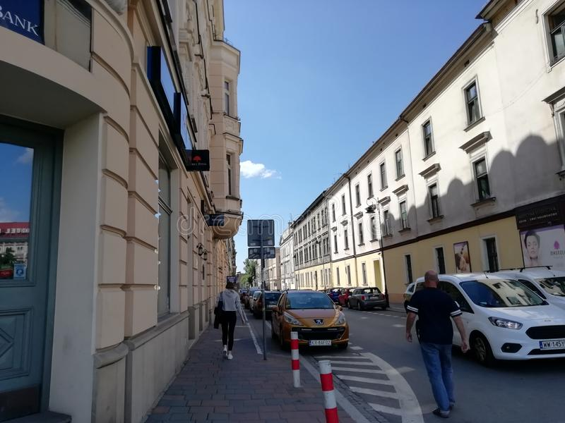 Street of the old city of Krakow stock images
