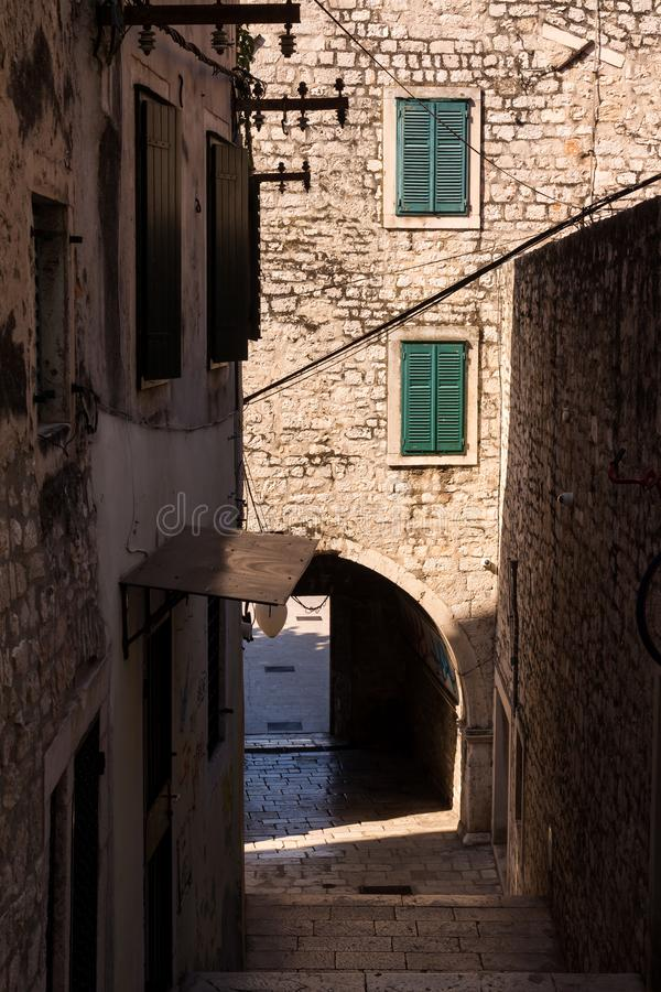 Street of the old city, Sibenik, Croatia stock photography
