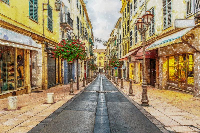 Street in the old in France. Digital illustration in painting st vector illustration