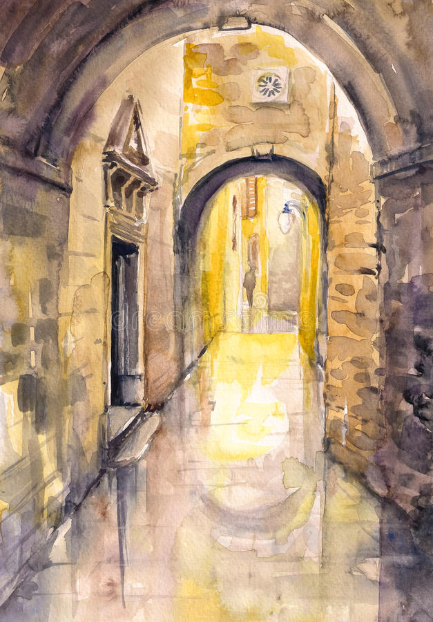 Street. Old street with gate in Sibenik /Croatia.Picture created with watercolors stock illustration