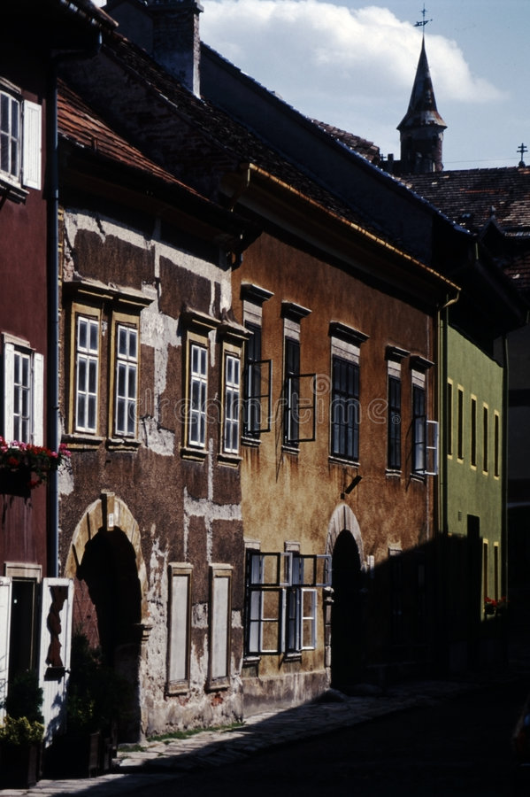 Street with old houses stock photos