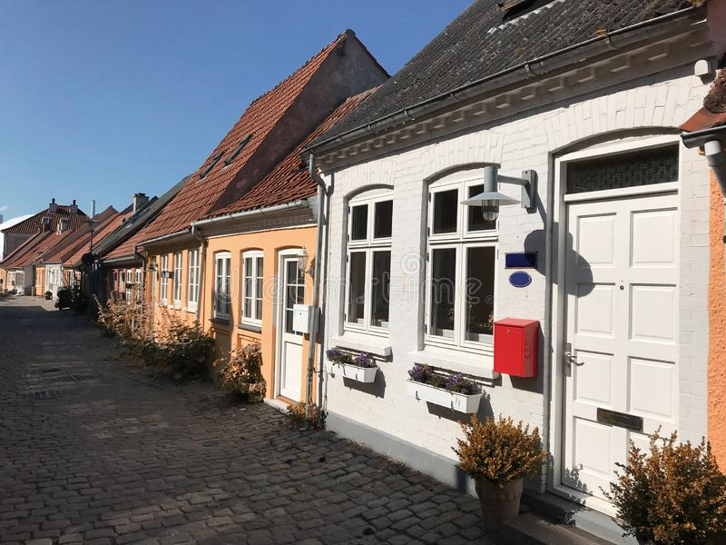 Street with old houses, Denmark. Street with old houses, Kalundborg, Denmark, Europe royalty free stock image