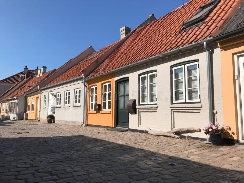 Street with old houses, Denmark. Street with old houses, Kalundborg, Denmark, Europe royalty free stock photos