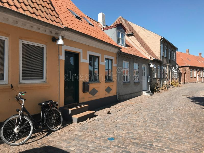 Street with old houses, Denmark. Street with old houses, Kalundborg, Denmark, Europe royalty free stock images