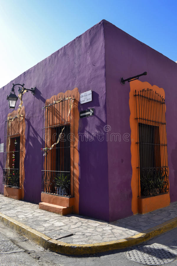 Street in old neighborhood, Monterrey Mexico. Colorful mexican street in Monterrey Mexico, this neighborhood is called Barrio antiguo stock photography