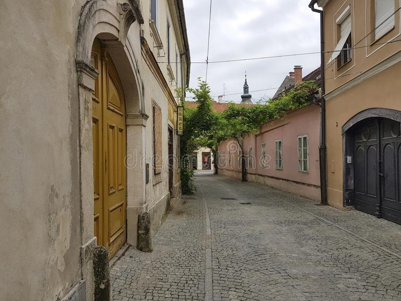 Street in the old part of Varazdin, Croatia. A street known for its small shops and galleries. Part of the street is covered with green leaves stock photos