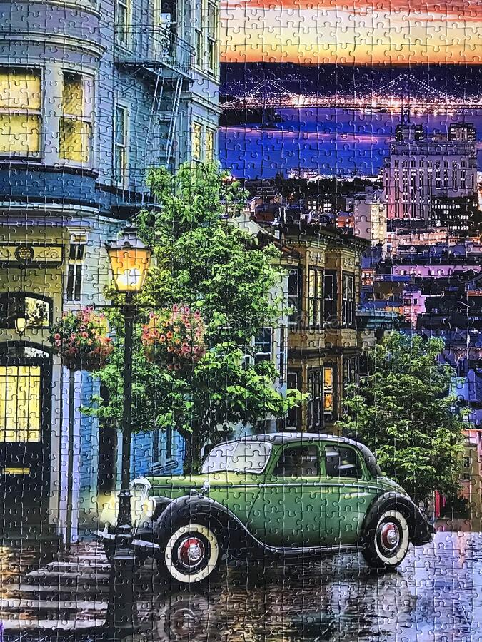 Street of Old San Francisco assembled puzzle image stock images