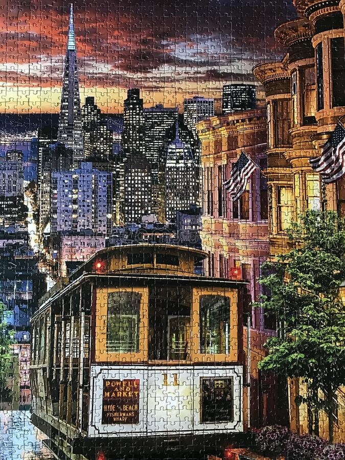 Street of Old San Francisco assembled puzzle image stock photo