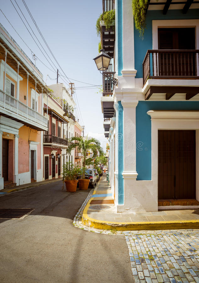 Street in Old San Juan, Puerto Rico royalty free stock image