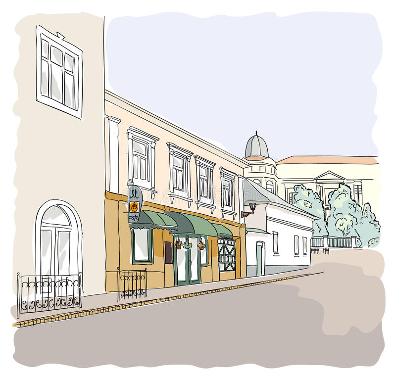 Download Street in the old town. stock vector. Illustration of medieval - 26477616