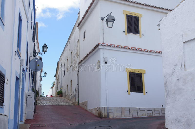 Street in old town Albufeira in Portugal. Street in old town Albufeira in Algarve, Portugal royalty free stock images