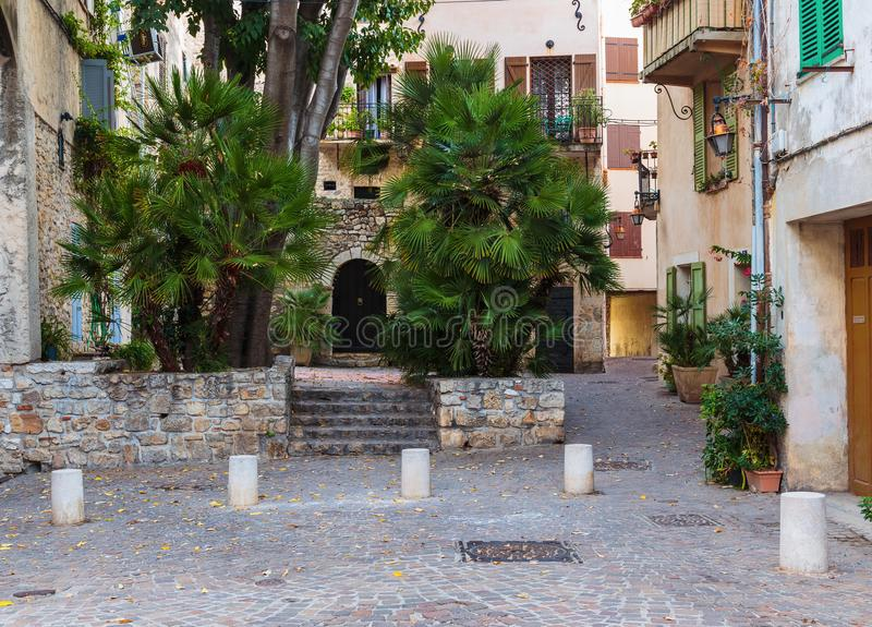 Street in the old town Antibes. In France stock photo