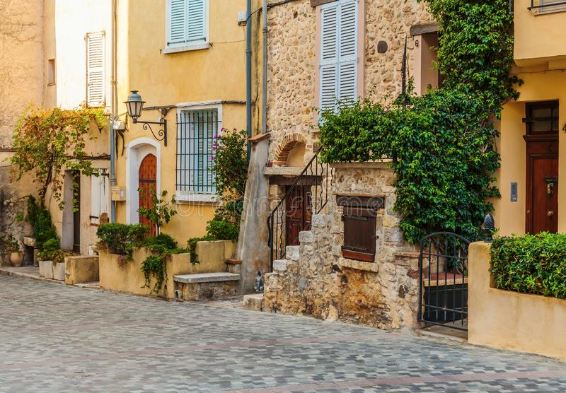 Street in the old town Antibes. In France royalty free stock photos