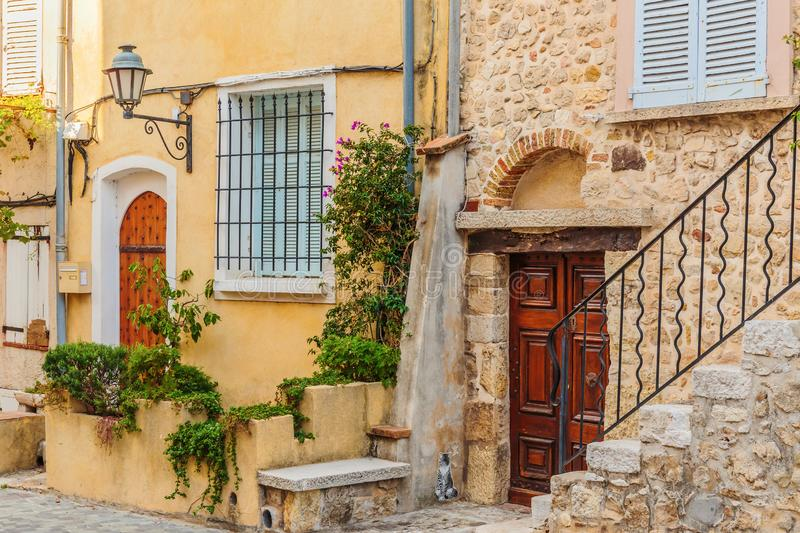 Street in the old town Antibes. In France stock photos