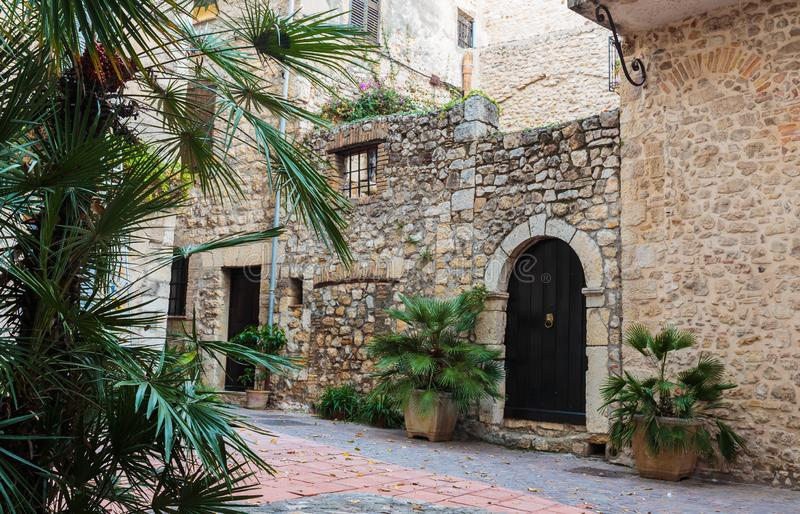 Street in the old town Antibes. In France royalty free stock photo