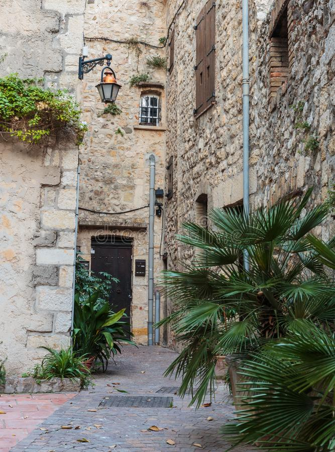 Street in the old town Antibes. In France stock photography