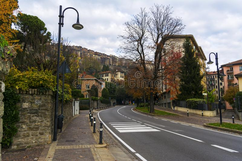 Street in the old town in Bergamo. Italy stock photos