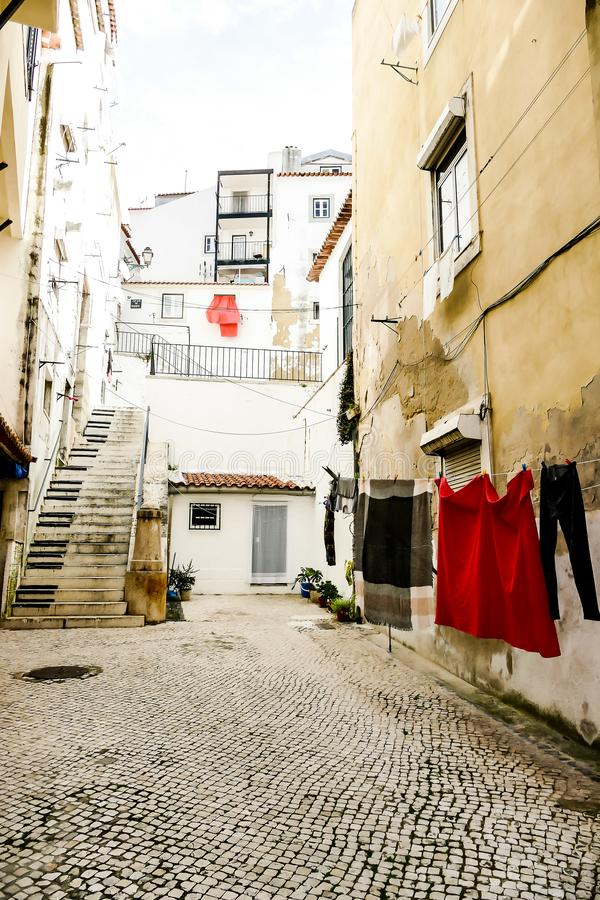 street in old town of the cote dazur france, in Lisbon Capital City of Portugal stock images