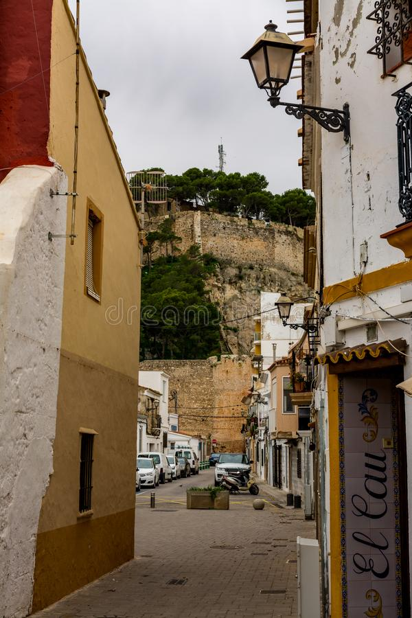 Narrow street at old town royalty free stock photography