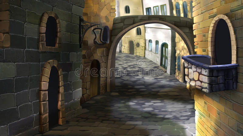 The street in the old town. Digital painting of the street in the old town. With a stone bridge and small balcony royalty free illustration