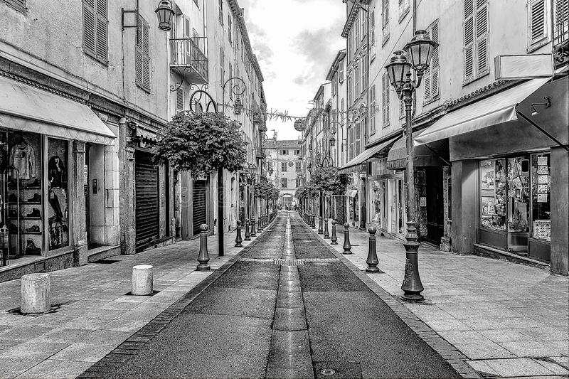 Street in the old town in France. Street in the old town Antibes in France. Digital illustration in sketch style royalty free stock images