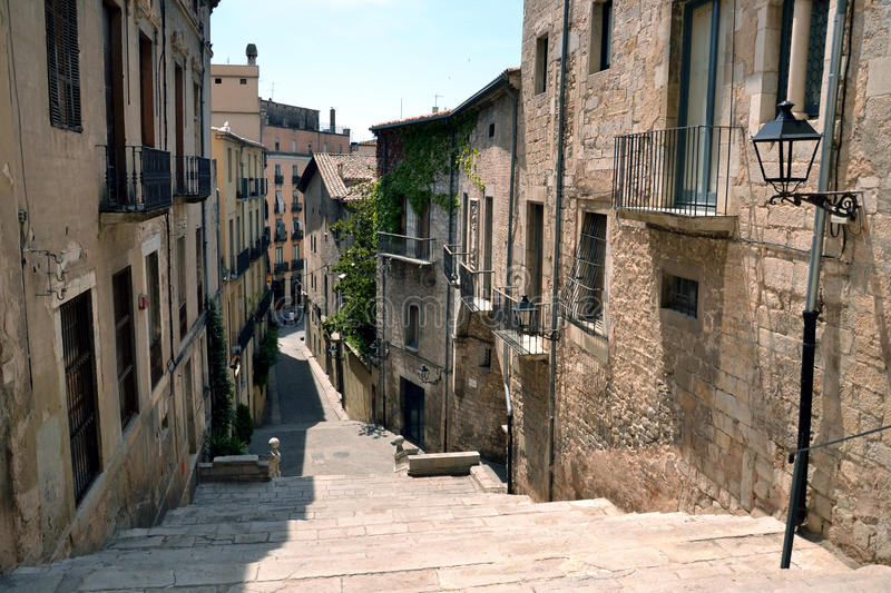 Street in the old town of Girona, Catalonia, Spain royalty free stock images