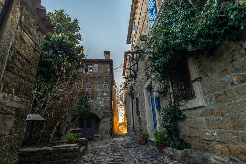 Street of Old Town Groznjan. Istria, Croatia, photographed with my Nikon D750 at Winter afternoon stock photography