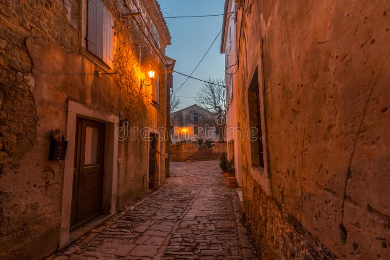 Blue Hour on Old Streets of Groznjan. Street of Old Town Groznjan, Istria, Croatia, photographed with my Nikon D750 at Winter afternoon and blue Hour stock photography